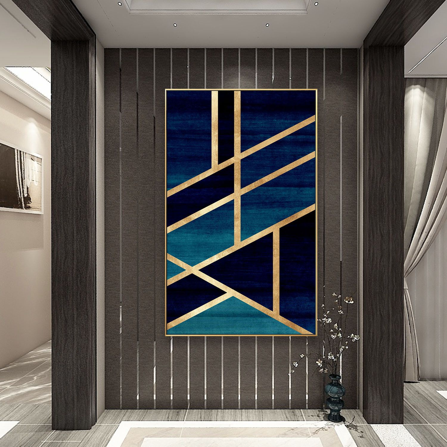 Modern Geometric Gold Navy Blue Simple Nordic Abstract Design On Canvas Print Painting Framed Wall Art Decoration Diy Canvas Art Wall Canvas Painters Tape Art