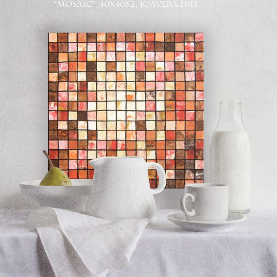"""Mosaic Art for kitchen Original Palette Knife Abstract Cubism KSAVERA """"Mosaic 34"""" 16x16 Free shipping Contemporary Painting on canvas"""