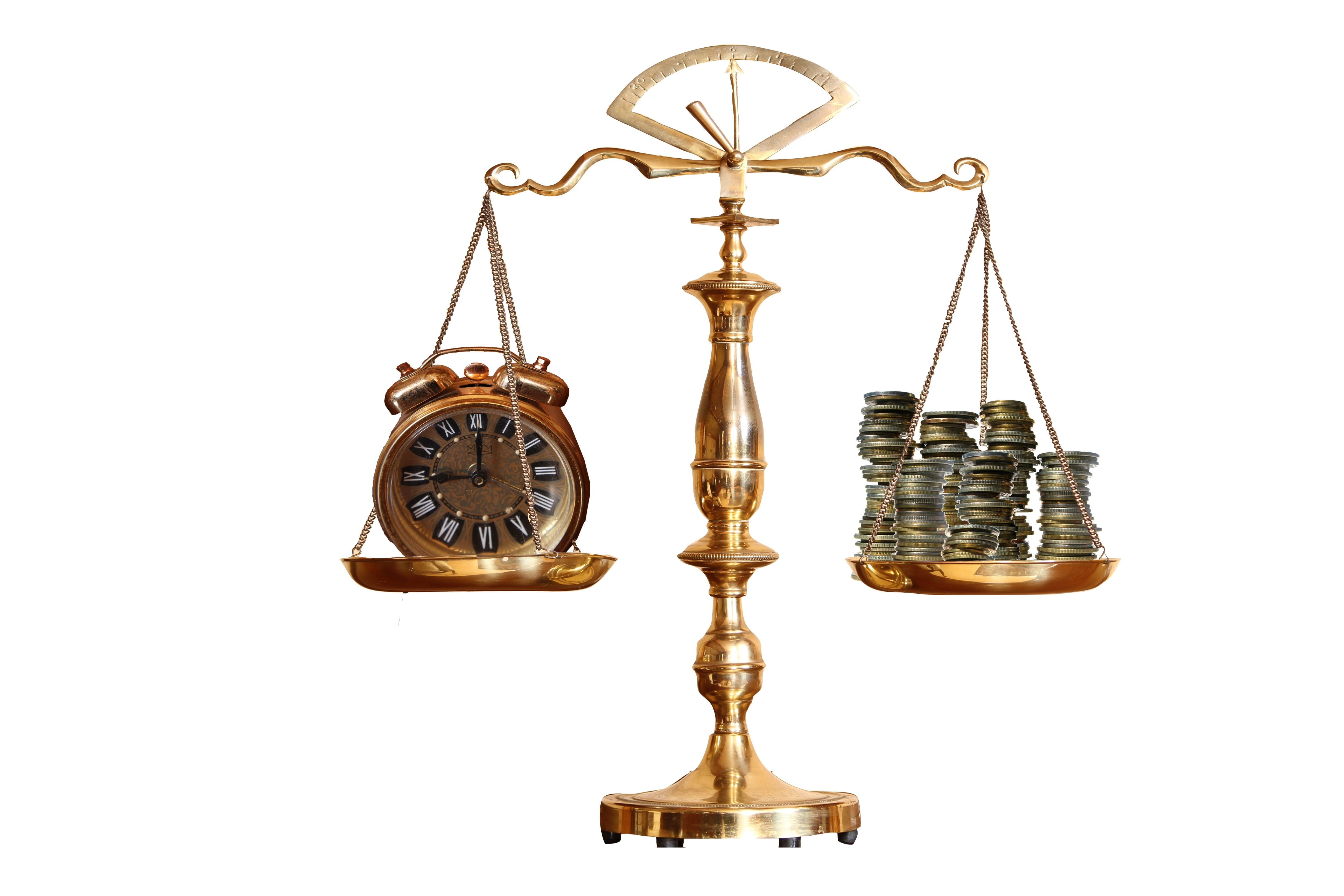 Brass Colored Balance Scale With Analog Clock And Coins Brass