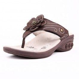 Julia Women S Leather Floral Adjustable Wedge Sandal