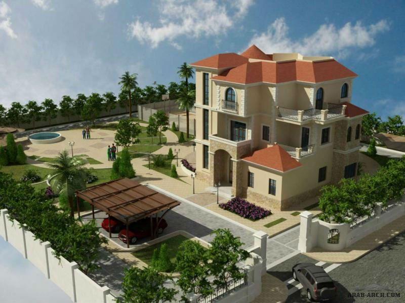 تصاميم فيلا ريف دمشق 3 طوابق Arab Arch Small Villa Fantasy House Facade House