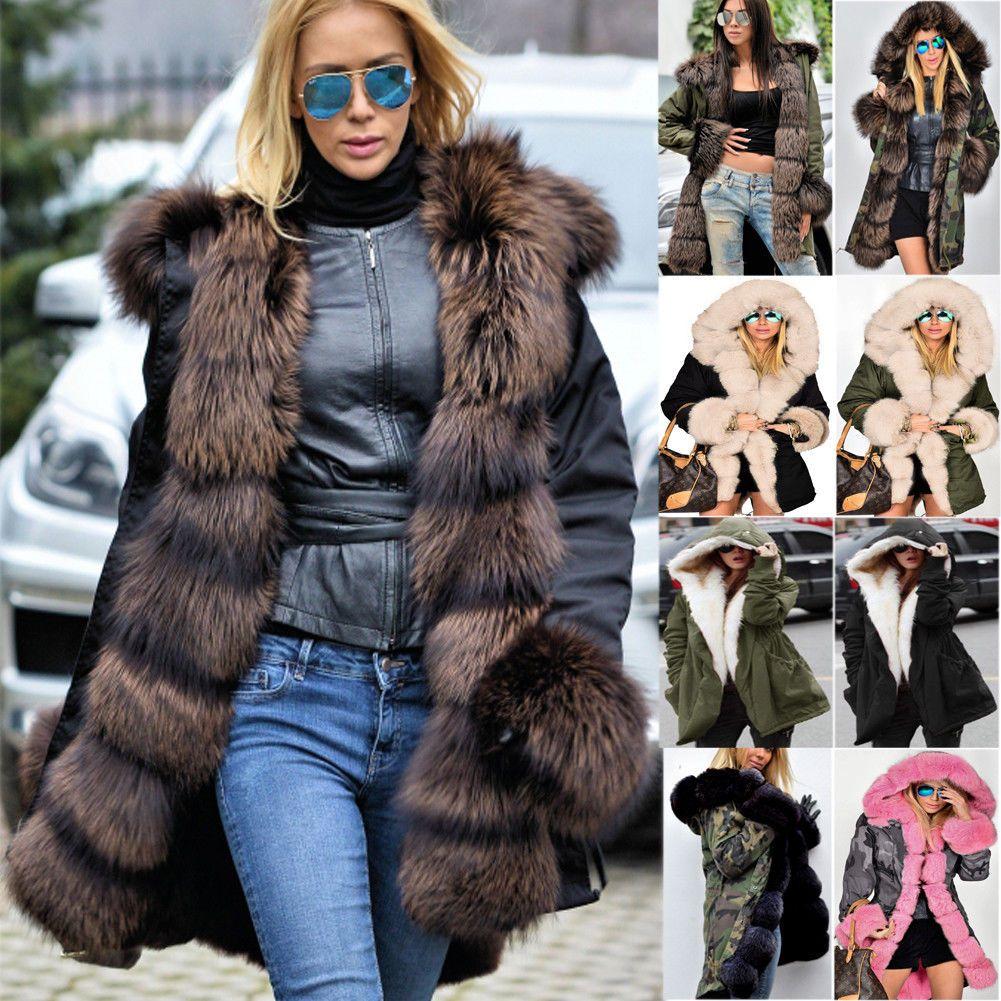 Roiii Women Thicken Warm Winter Coat Hood Parka Overcoat Long Jacket Outwear (10, Grey)