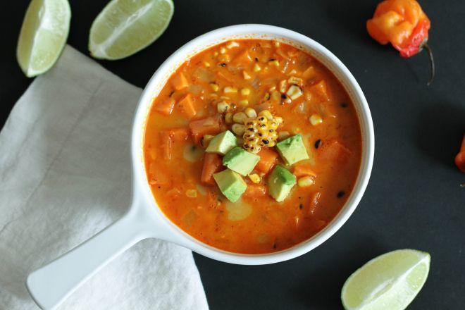 Habanero, Charred Corn, and Sweet Potato Chowder