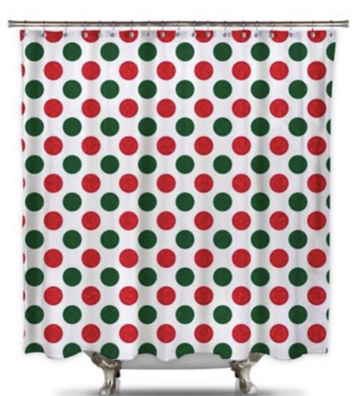Red and Green Polk-A-Dot Fabric Shower Curtain | Christmas shower ...