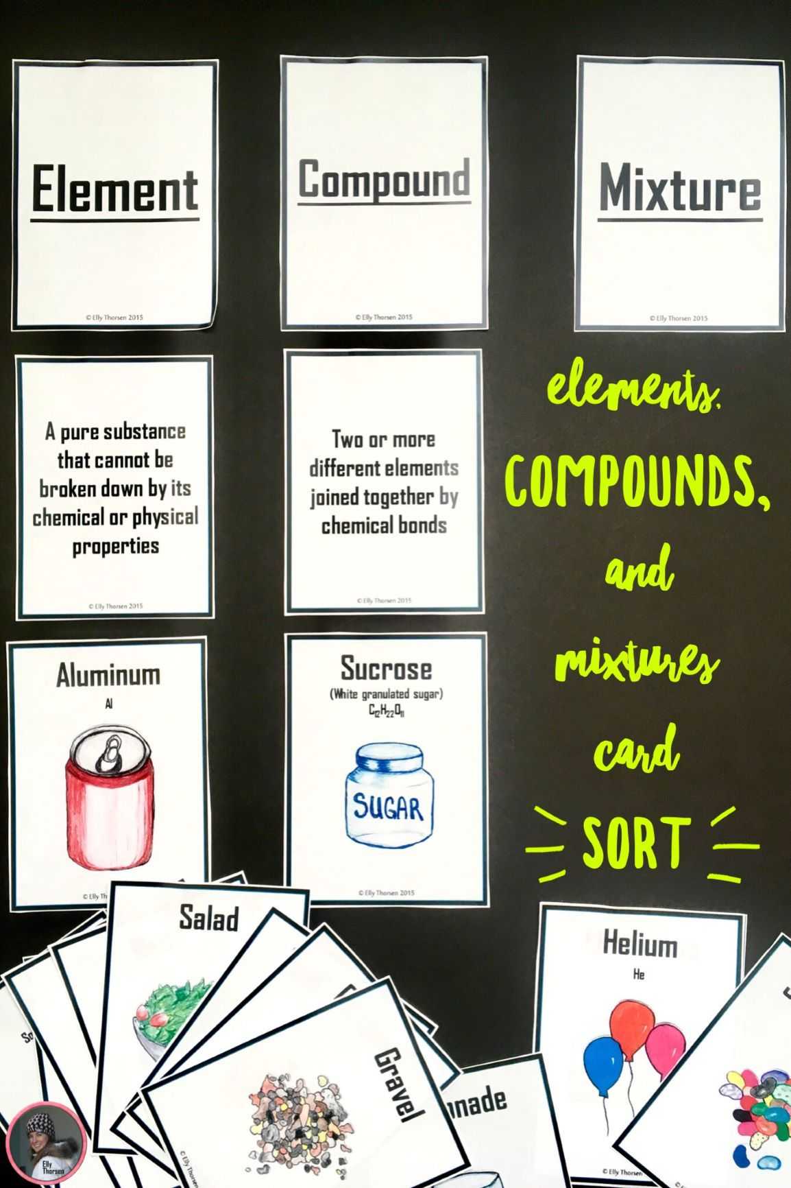 Elements Compounds And Mixtures Card Sorting Activity Science