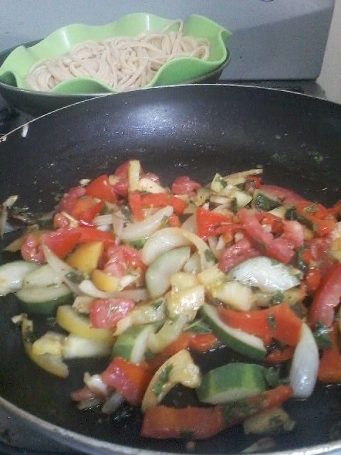 Veggie Feast with olive oil, spices and whole wheat spaguetti