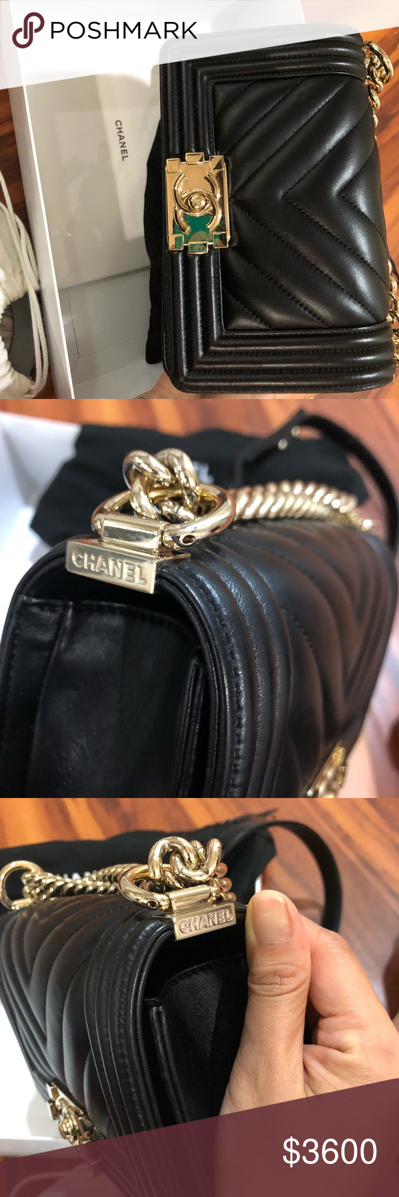eb16ead8429e Chanel Boy Flapbag - Chervon/Black Like new, with dustbag, box and receipt  include, 100% authentic CHANEL Bags Crossbody Bags