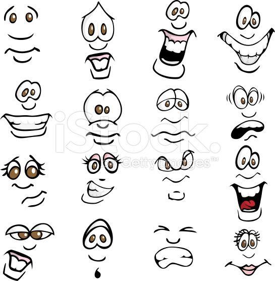 Cartoon Facial Expressions Set Angry Black Caricature Cartoon