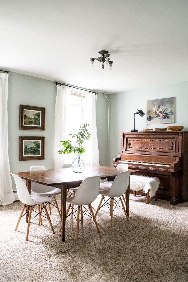 Modern Meet Antique Dining Room Decor Inspiration Antique Piano Midcentury Walnut Dining Dining Room Cozy Antique Dining Tables White Dining Room Furniture Dining room progress inspiration