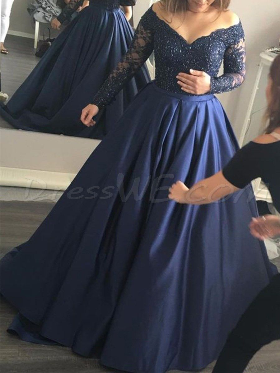 Offtheshoulder lace longsleeves prom dress prom dress