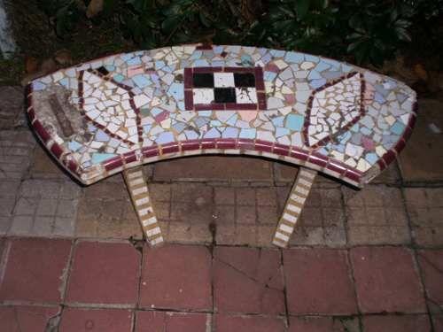 juego de bancos para jardin hechos en cemento y ceramica