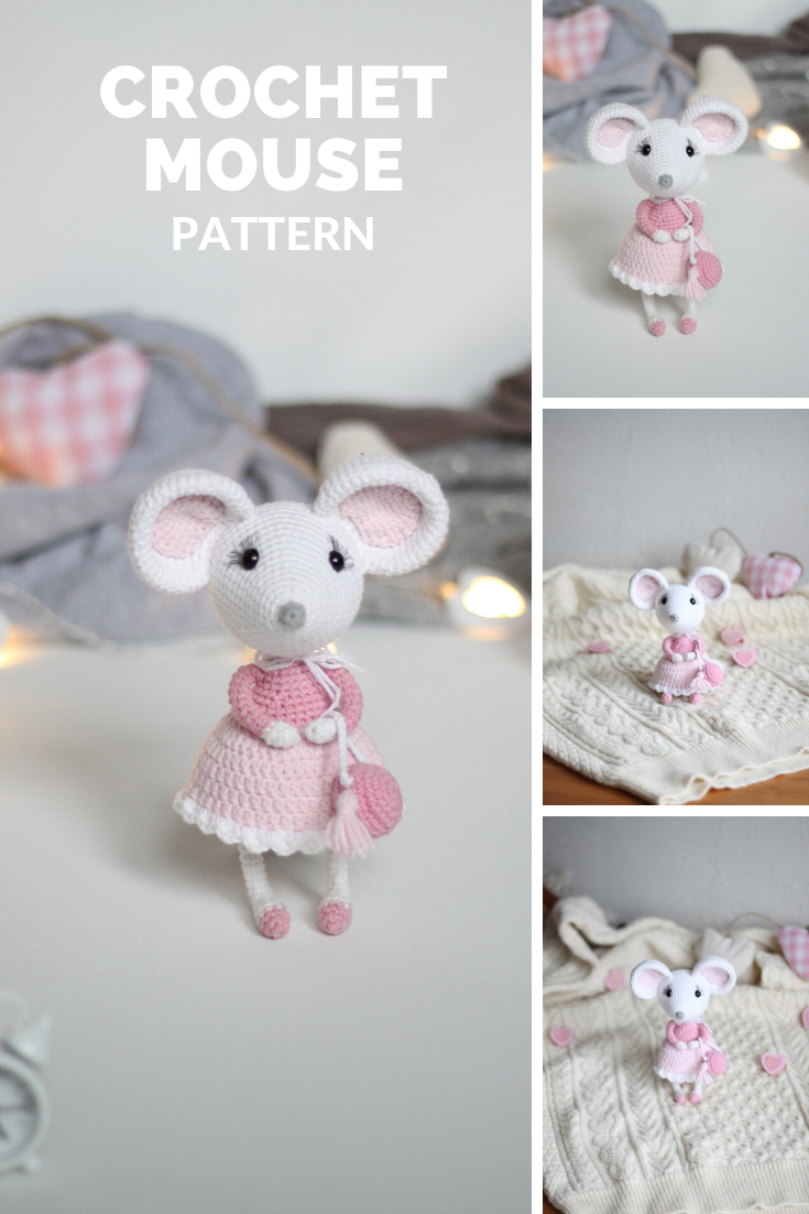 Sweet mouse free crochet pattern | Amiguroom Toys | 1102x735