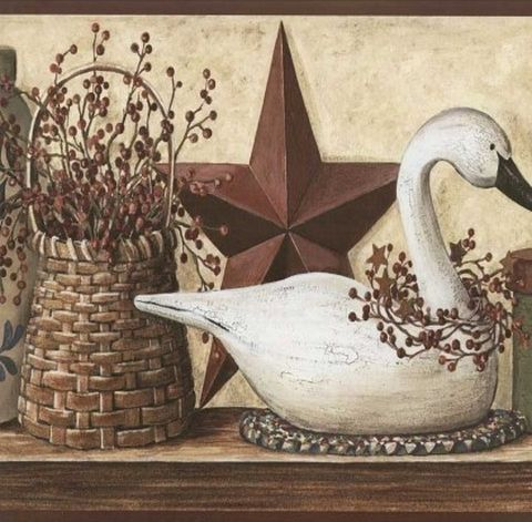 Floral, Stars, and Duck Country Wallpaper Primitive