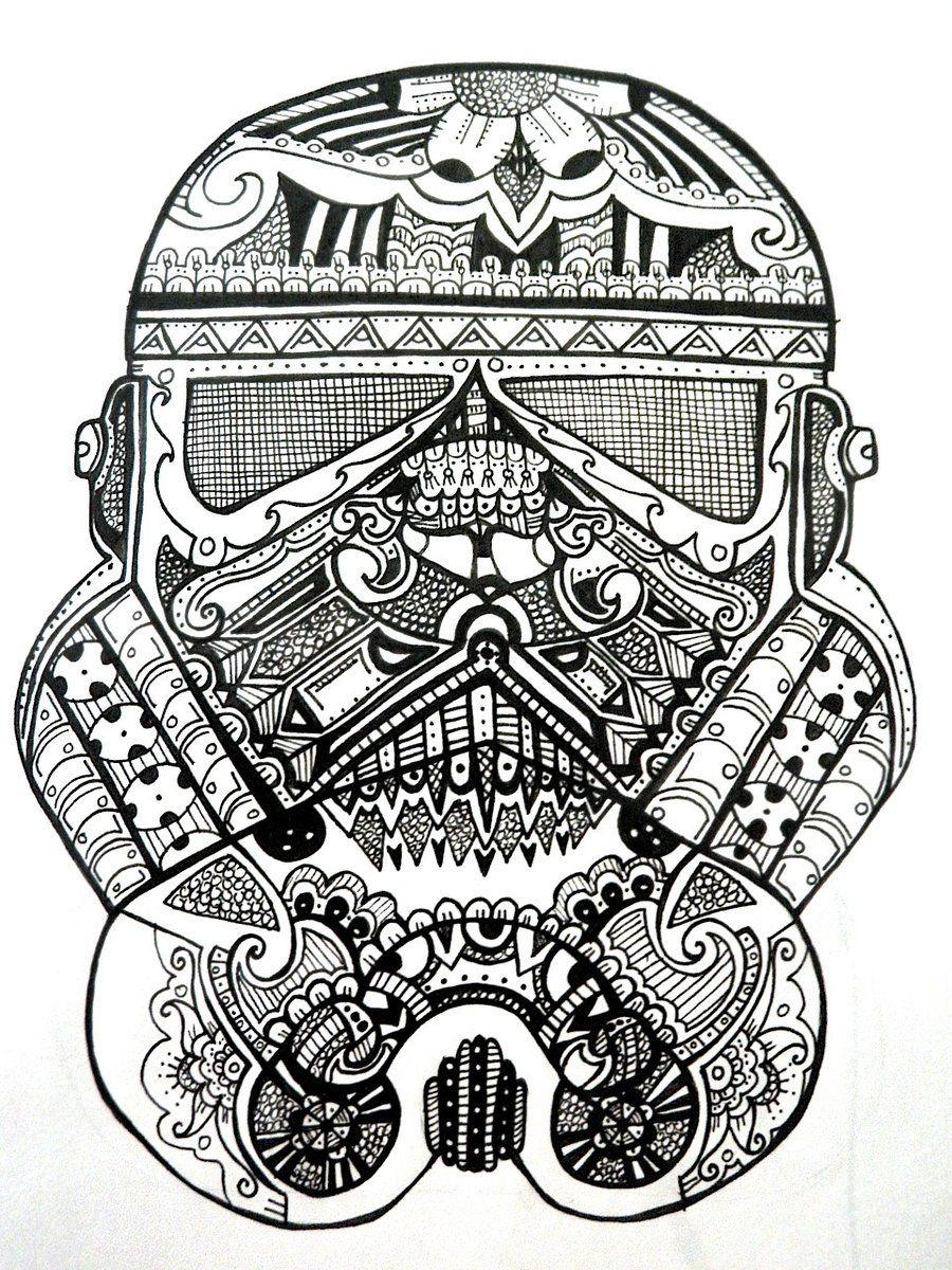 Stormtrooper Sugar Skull By Rosered66 On Deviantart Star Wars Coloring Book Mandala Coloring Pages Star Wars Art
