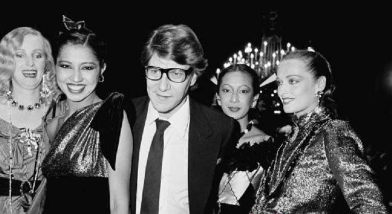 Circa 1978 - Yves St Laurent and models (Kirat, Nicole...)  I think it was the fall winter 1978-79 couture show