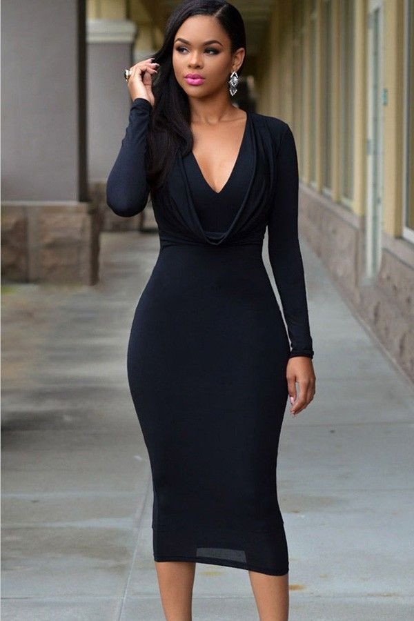 V-neck long sleeve fitted maxi dresses