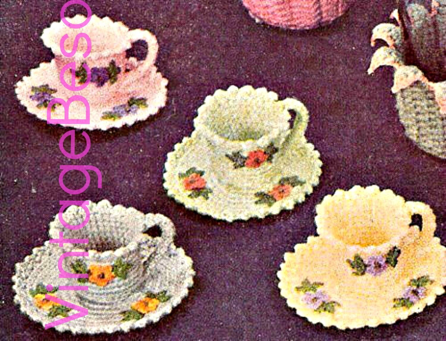 Tea Cups and Saucers - Instant Download Digital File - 1950s Vintage Crochet Pattern by VintageBeso on Etsy