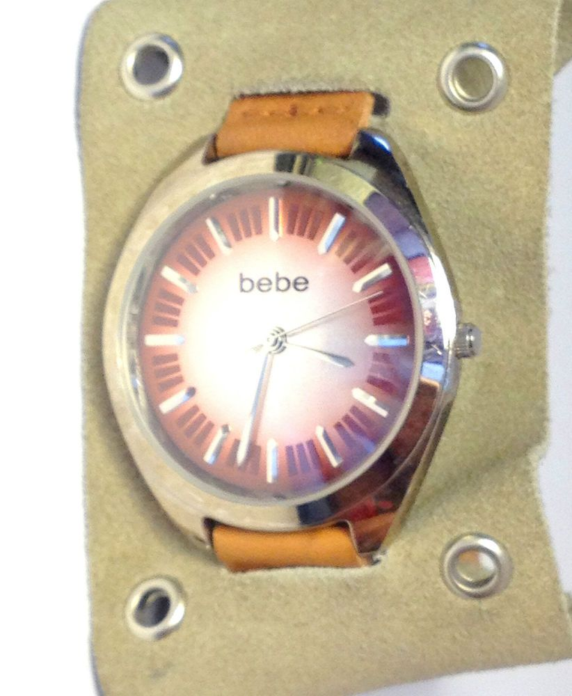 Auction ends in 21 hrs!  Bebe Women's Watch BEBL3509 Burgundy / Tan leather Wide Band 39.5MM #Bebe #Fashion