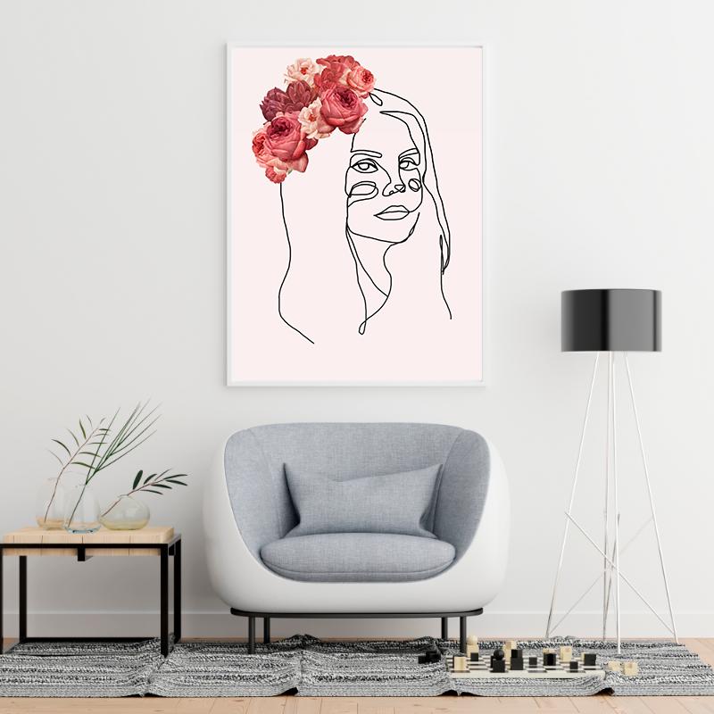 Quadro decoração Lana Del Rey loja Arte Linear.   #estilo #decoração #casa #ideias #presente #moda #lana #del #rey #lanadelrey #desenho #flores