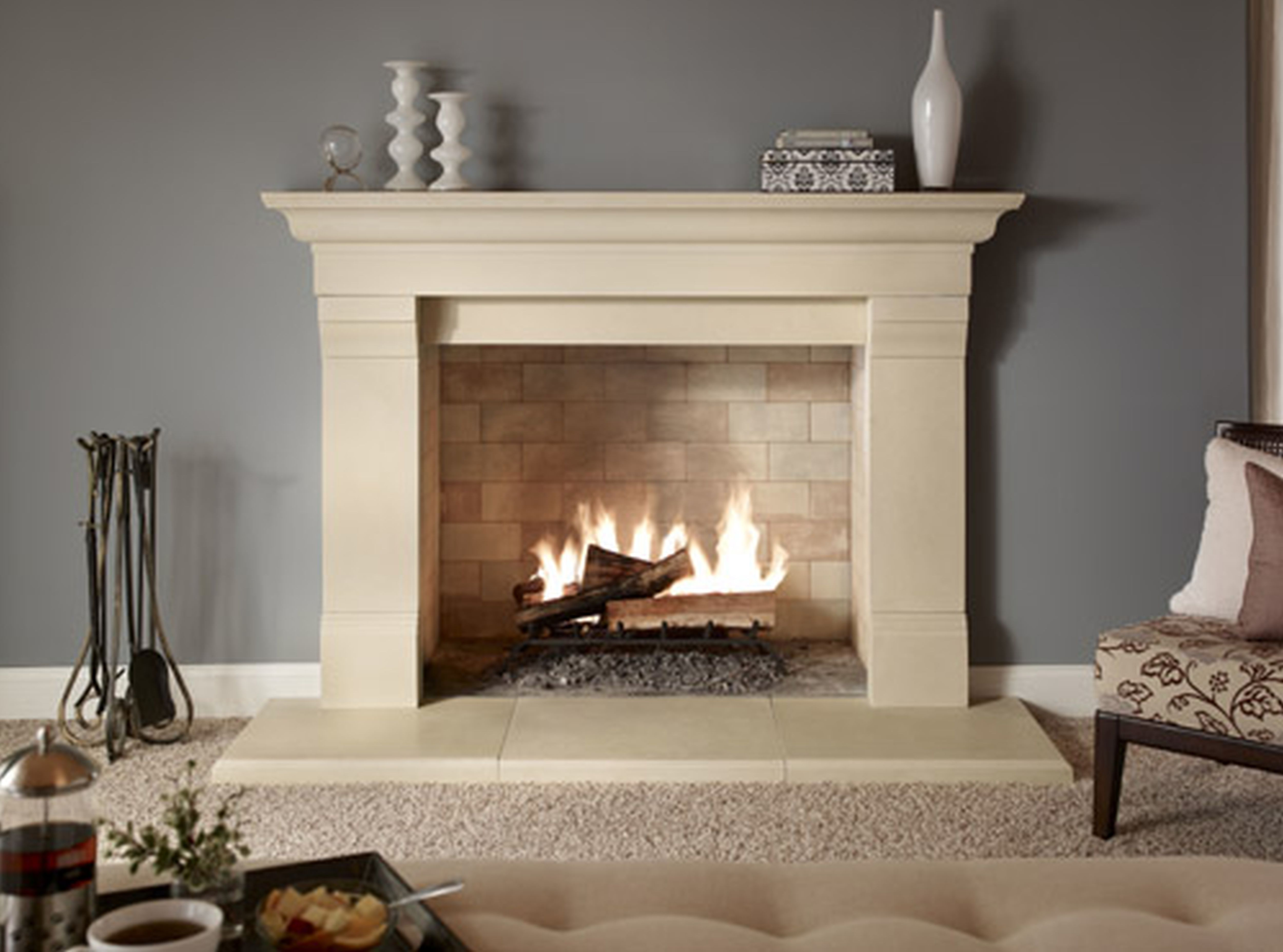 beige fireplace design come with brick wall firebox and modern mantel shelf also beige pillar for