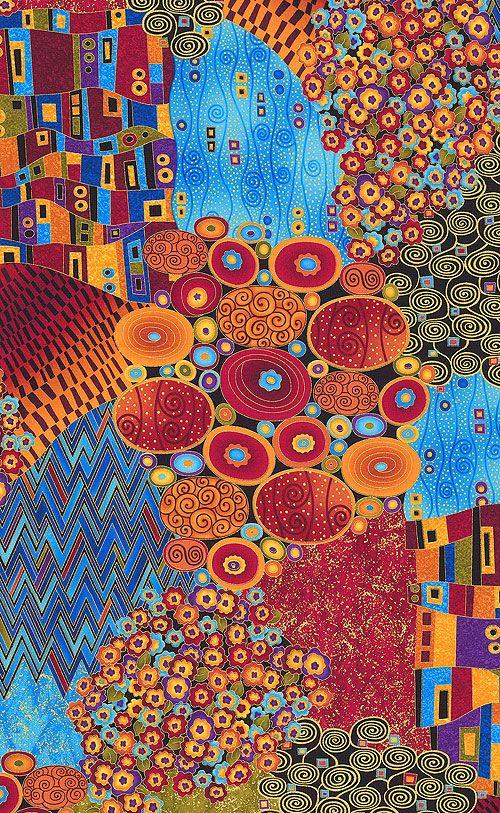 intrigue klimt 39 s abstract garden quilt fabrics from mus es pinterest. Black Bedroom Furniture Sets. Home Design Ideas