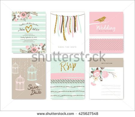 Set of wedding invitation cards pink dream colllection pinterest set of wedding invitation cards stopboris Image collections