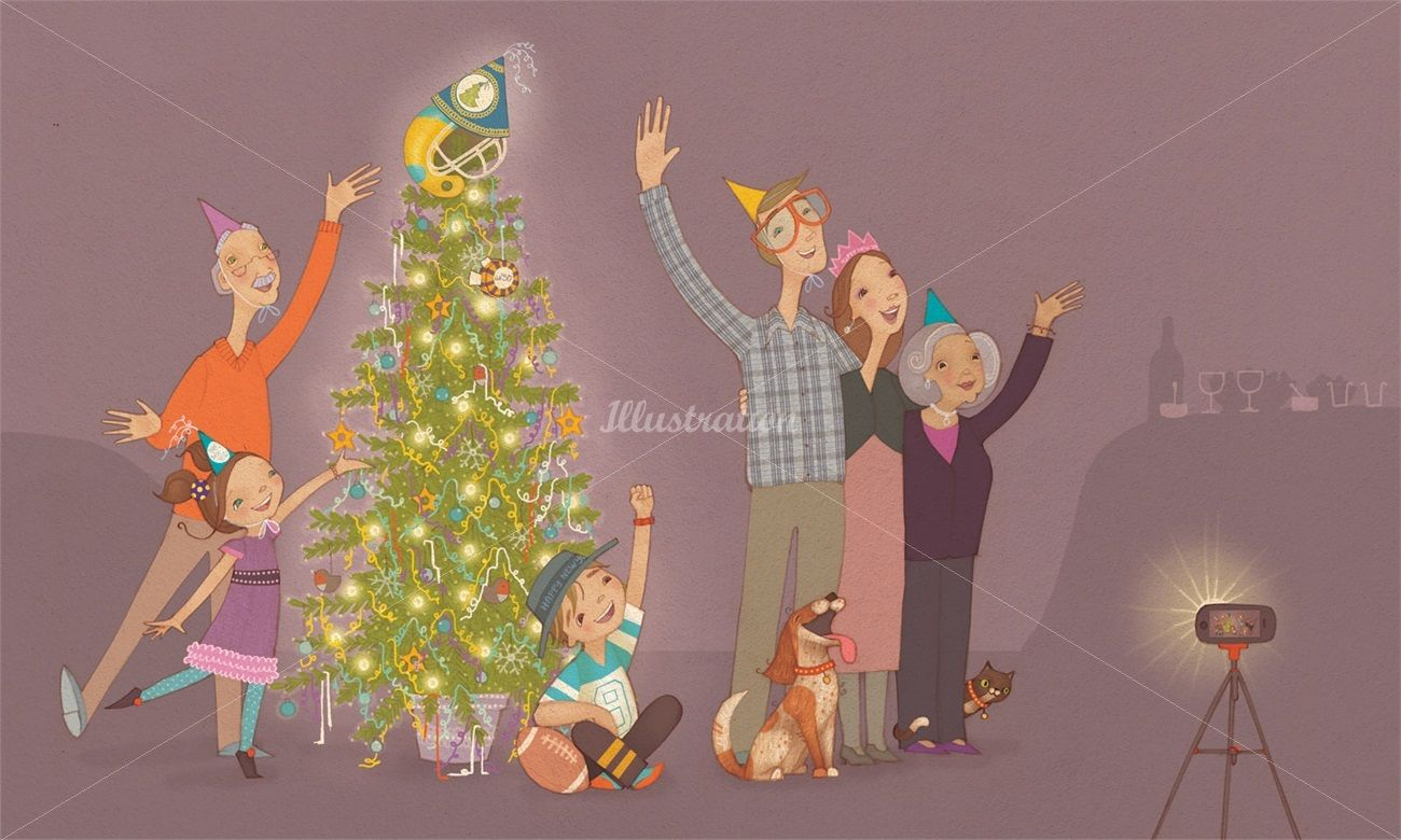 Family Ready For Photo With Just Decorated Christmas Tree Christmas Family Christm Line Illustration Children S Book Illustration Christmas Illustration