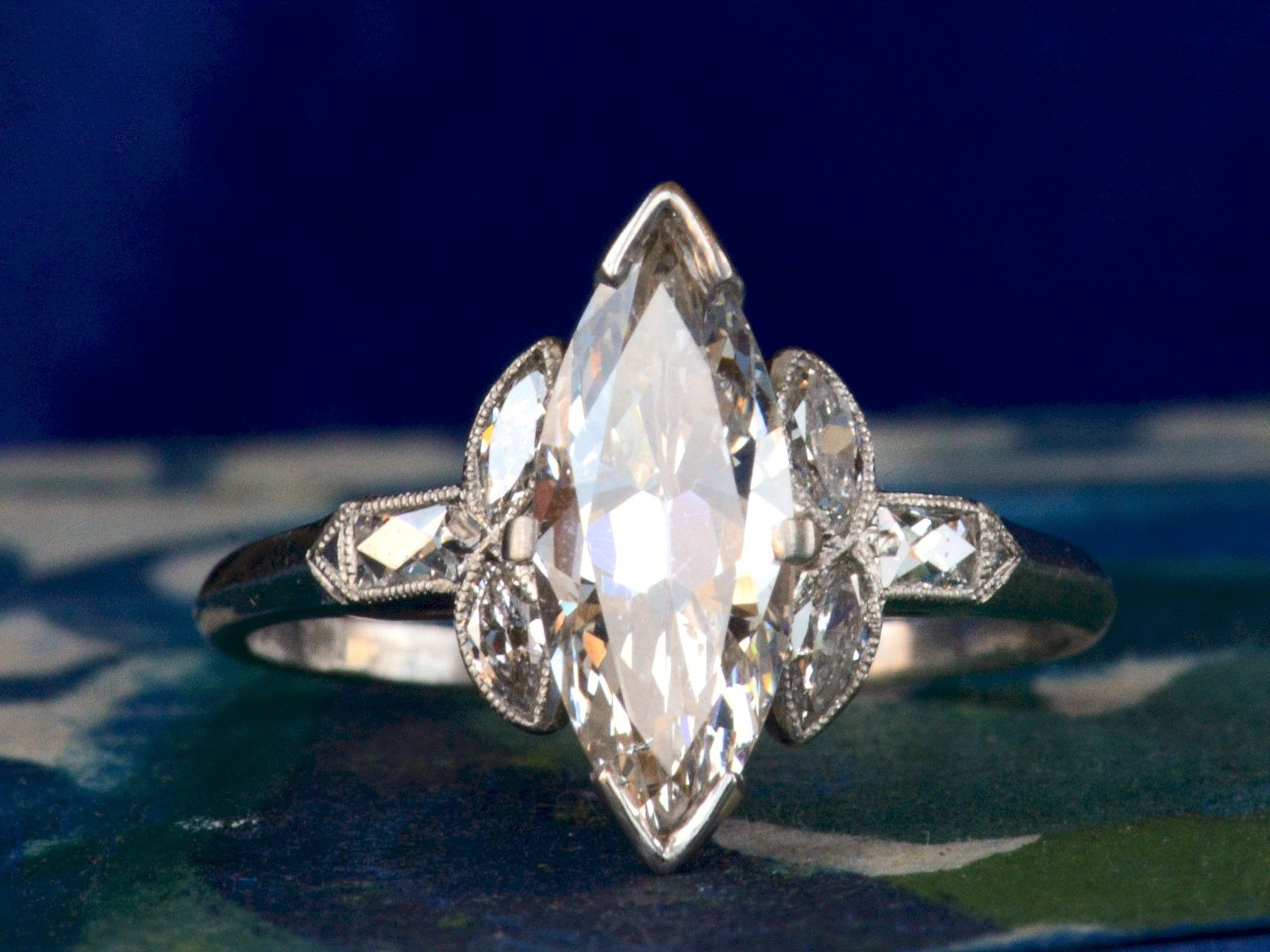 1920s Art Deco Marquise Ring Marquise Diamond Ring Art Deco Diamond Rings Ladies Diamond Rings