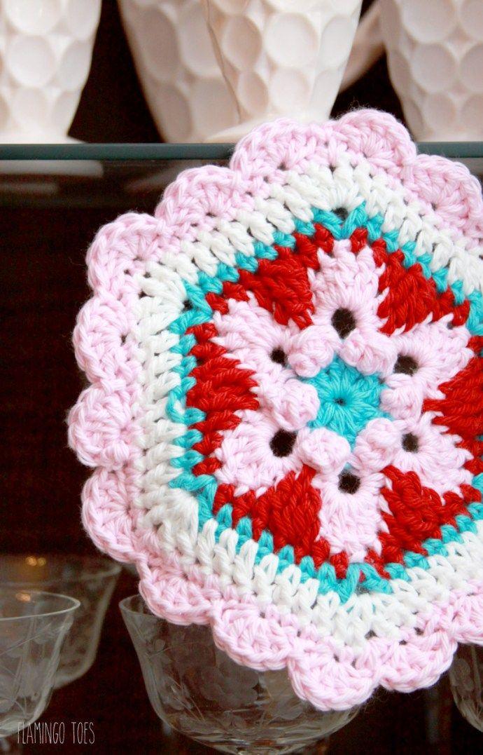 Crochet Star Lily Hexagon Potholder - | салфетки и подстаканники ...