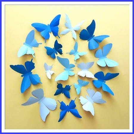 blue 3d butterfly wall decor - Google Search | dorm | Pinterest | 3d ...