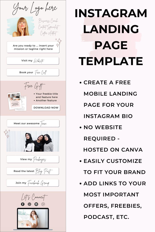 Instagram Landing Page No Website Required Instagram Link In Bio Page In 2021 Landing Page Instagram Guide Instagram Marketing