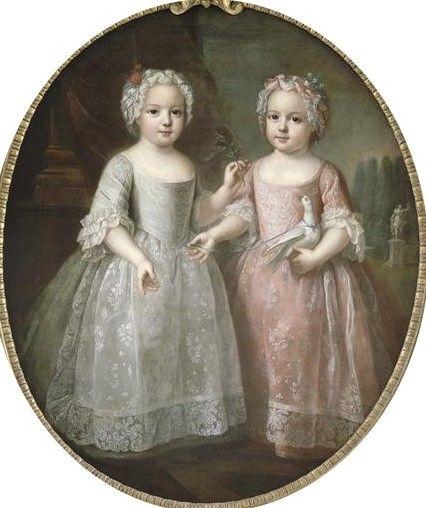 Luisa Isabel de Francia y su hermana gemela Enriqueta de Francia hijas de Luis XV