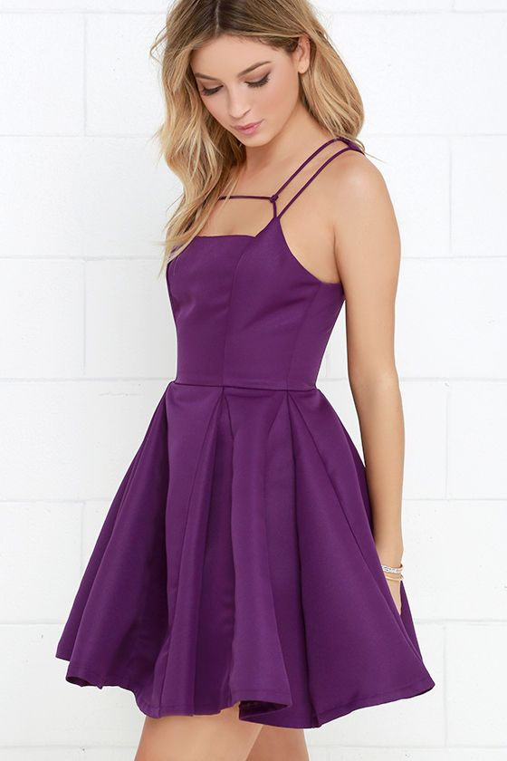 09a28bf8d7b2 Gift of Rhyme Purple Skater Dress at Lulus.com!