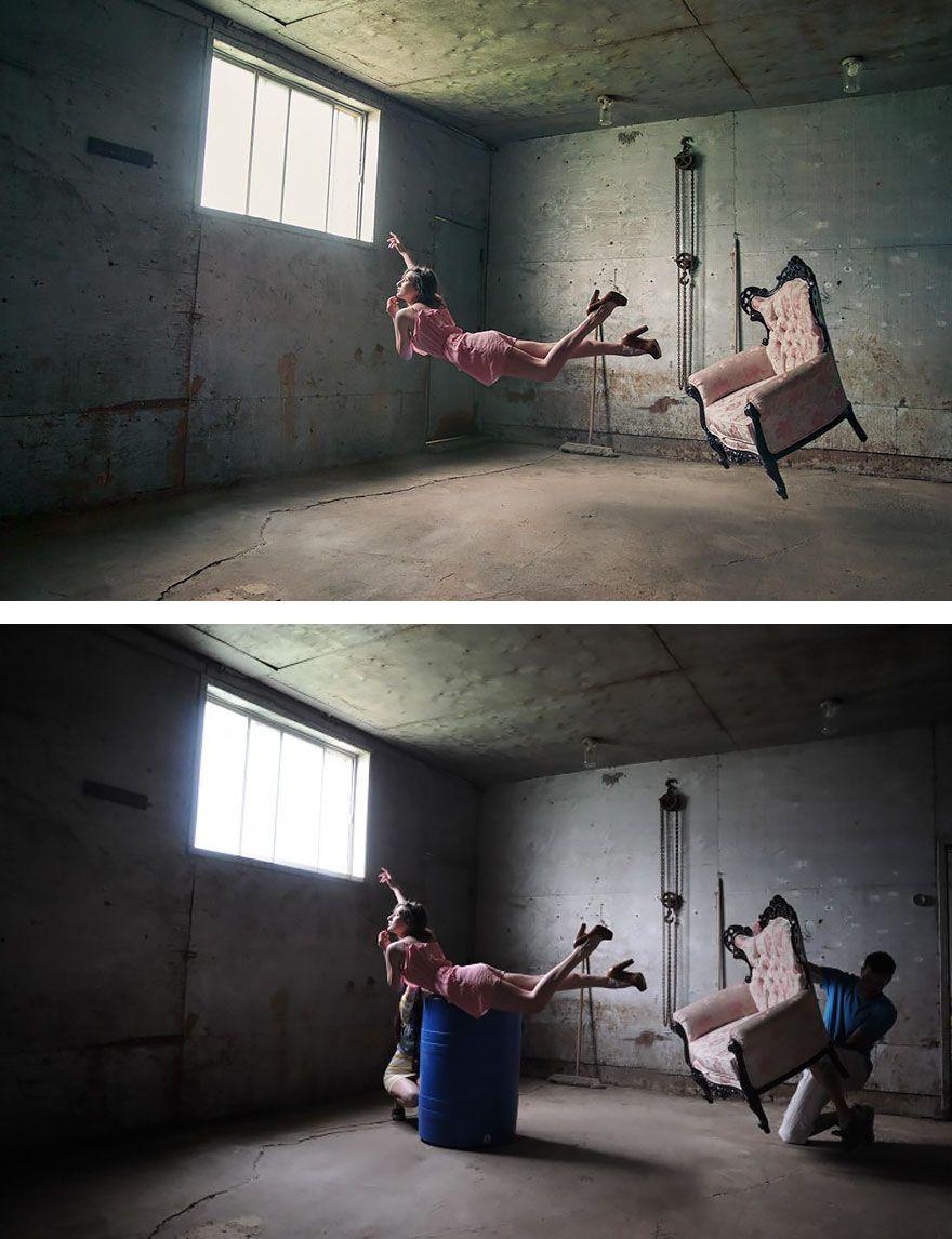 Secret d'une photographie d'une femme qui flotte dans l'air