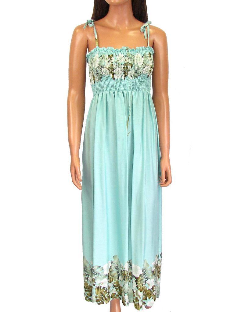 Mahea Aqua Long Hawaiian Smock Maxi Dress  #RC-61204R-M