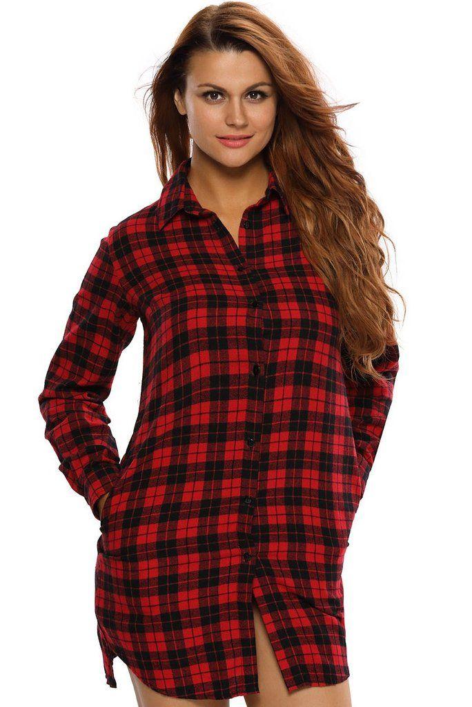 Robe Chemise Manches Longues Noir Rouge a Carreaux Haut Top Femme
