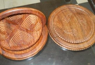 Dry Fruit Basket In Wood With Carving Handicraft Made In Pakistan