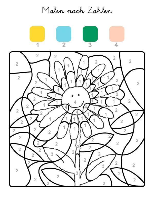 Ausmalbild Malen nach Zahlen: Sonnenblume ausmalen kostenlos ...