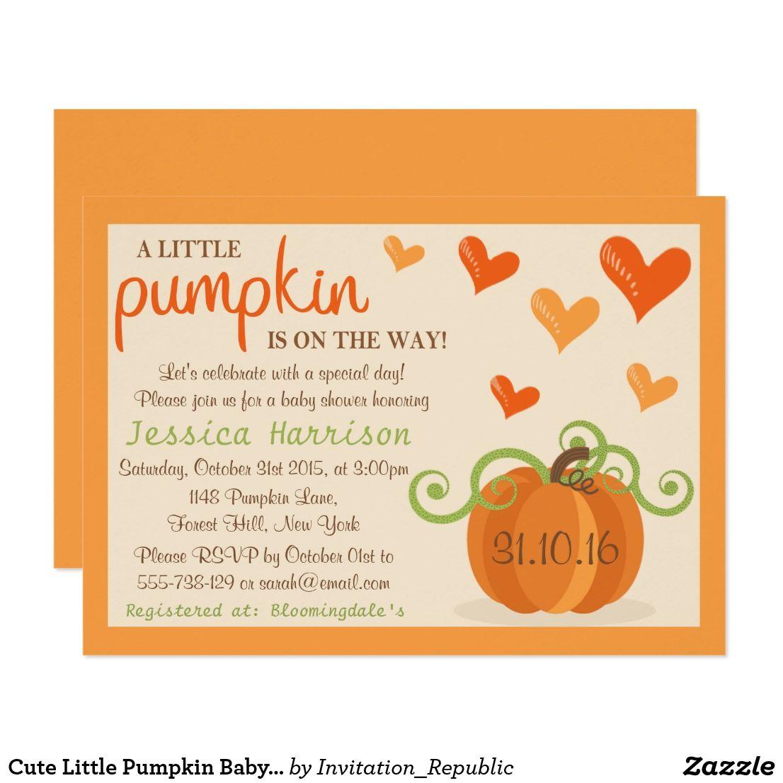 Cute Little Pumpkin Baby Shower Invitations Cute Little Pumpkin ...