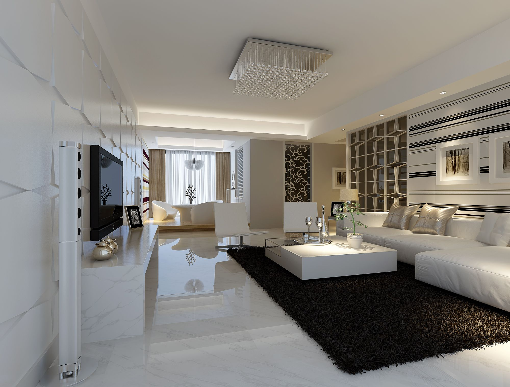 Modern white marble flooring for living room with black carpet and white sofa sets interior Room floor design