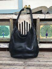 Vintage Black Leather Oroton Hobo Bag  Hand Bag  Shoulder Bag Vintage Black Leather Oroton Hobo Bag  Hand Bag  Shoulder Bag