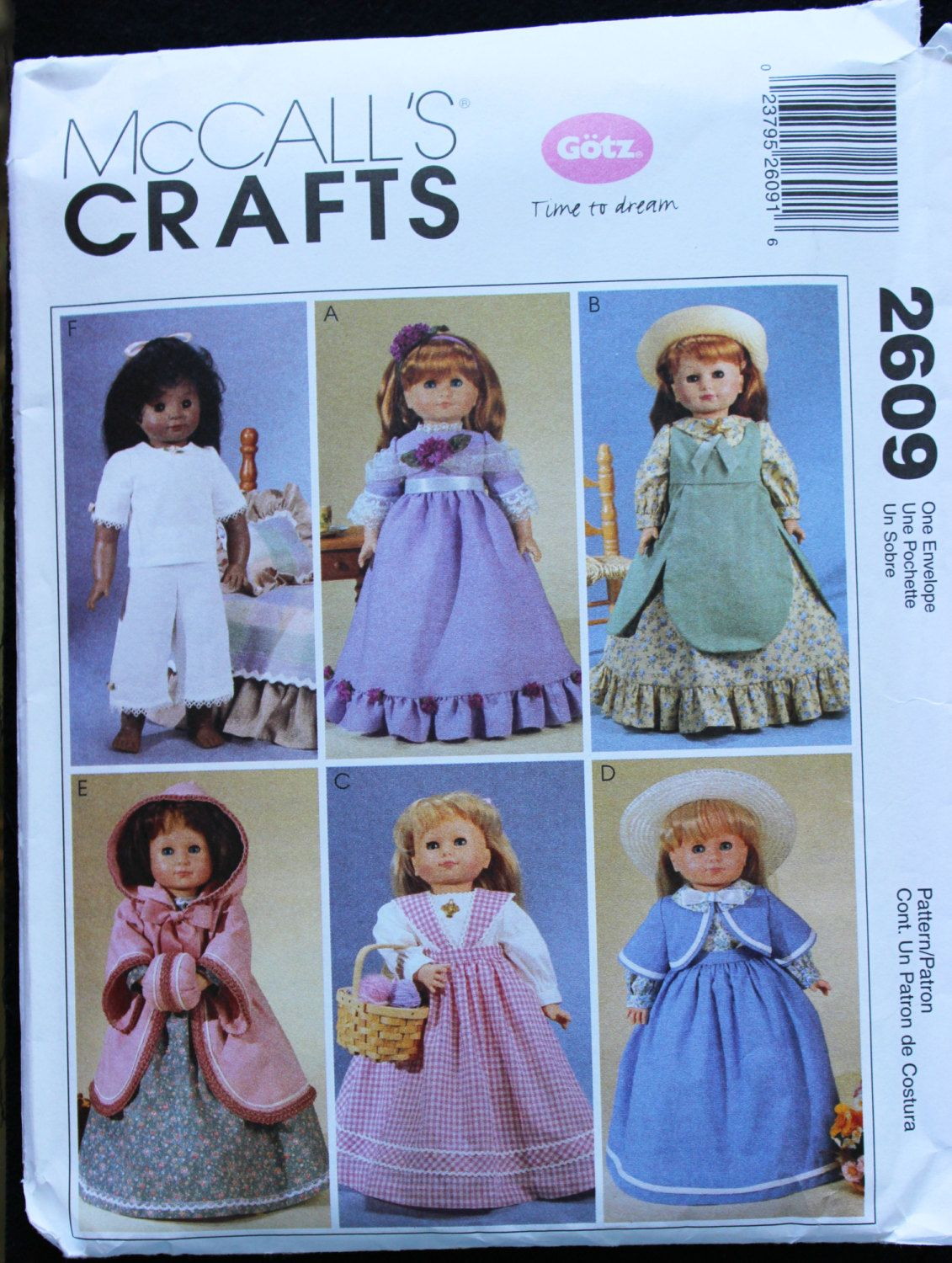 "Sewing Pattern McCall's Crafts Gotz Doll Pattern McCall's 2609 18"" 18 Inch Doll Clothes Dress Pinafore Shawl Blouse Hooded Coat Muff Skirt by PastThatLasts on Etsy"