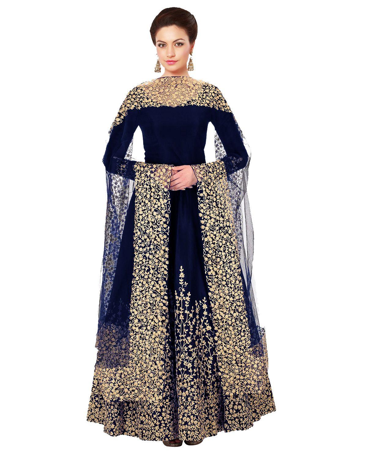 Blue embroidered fancy fabric salwar Am Fashion 2554548