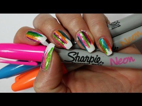 Sharpie Nail Art | DIY Sparkly Neon Highlighter Rainbow Nails!!! (Khrystynas Nail Art) - YouTube