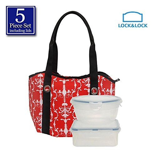 Lock and Lock 5pcs Set Plastic Food Storage Container Airtight AntiSpill Proof with Red Tote Alice Cooler Bag >>> Want to know more, click on the image.