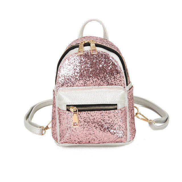 Summer PU Leather Fashion Shining Silver Ladies Women Sequin Bag Kids  Teenager Girls Small Mini Backpack Female Kawaii Pink Cute 413b3c7f70617