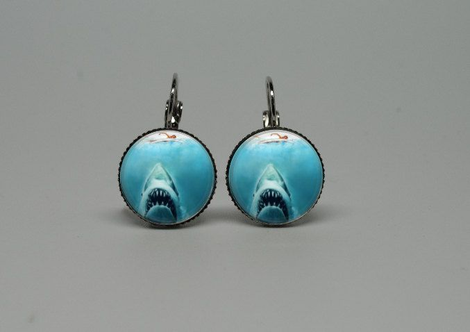 Silver Glass Dangle Drop Earrings with Jaws Movie. $19.90, via Etsy.