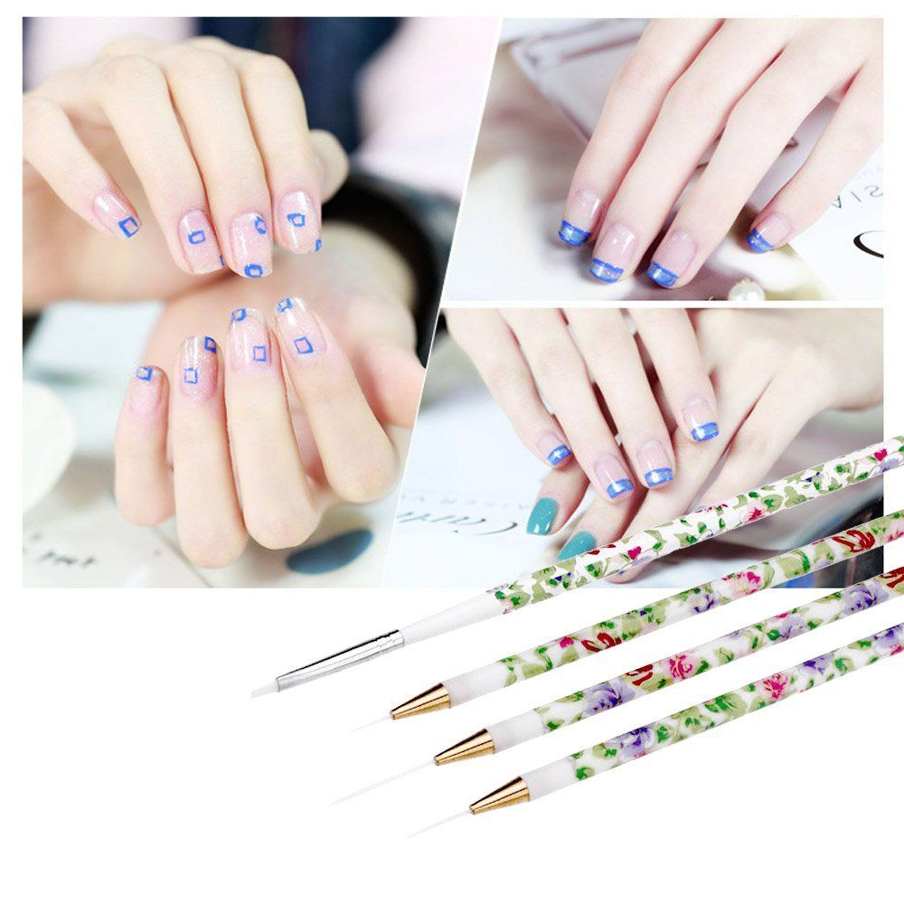 Professional 4pcsset Gel Uv Nail Print Brush Kit Nail Art Design