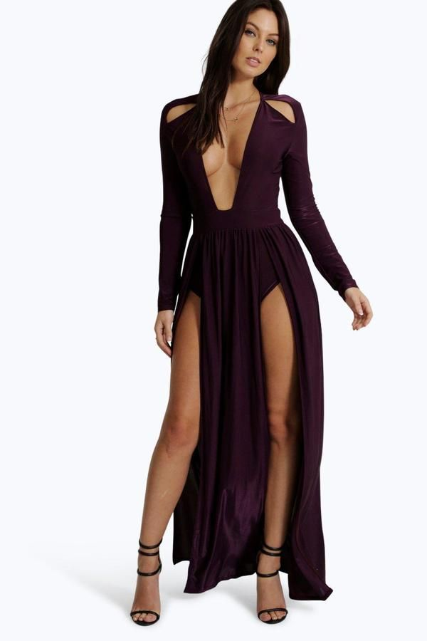 boohoo Amy Long Sleeve Square Neck Plunge Maxi Dress (With ...