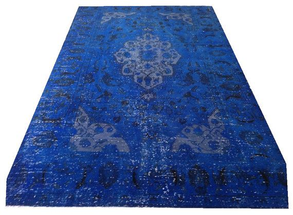 8 3 Quot X 5 Ft Vintage Electric Blue Overdyed Handmade Rug